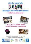 Soirée parentale - les addictions 02 juin